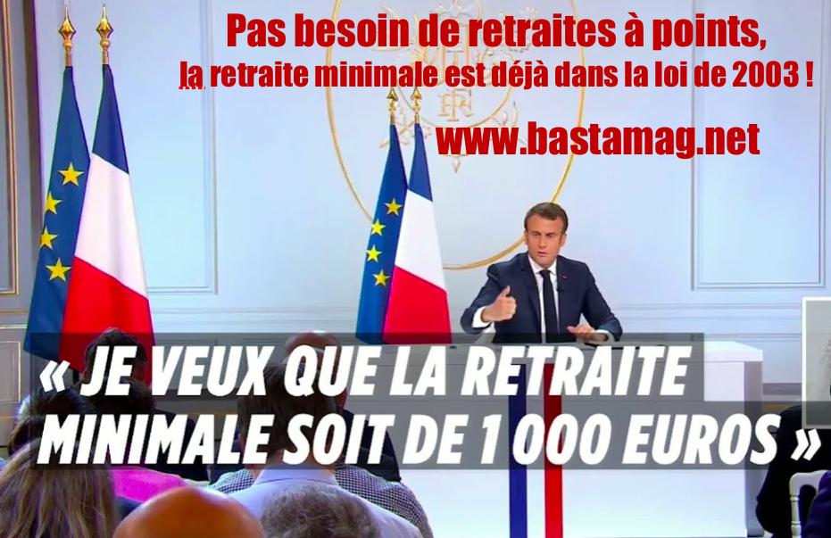 Retraite à 1000 euros déjà dans la loi de 2003