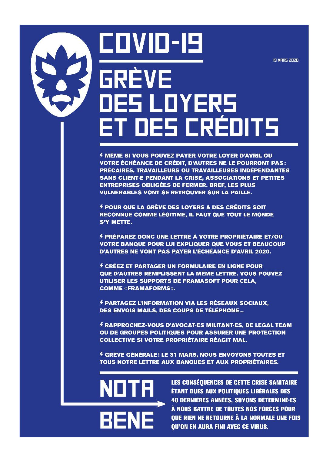 Affiche d'appel à la grève - Grève des loyers et des crédits